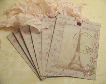 Paris Tags Eiffel Tower Tags All Occasion Gift Tags Valentines Day Vintage French Parisian Style Set of 6 or 9