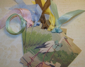 Baby Tags - Baby Shower Wish Tags - Stork Tags - Vintage Style - Set of 6