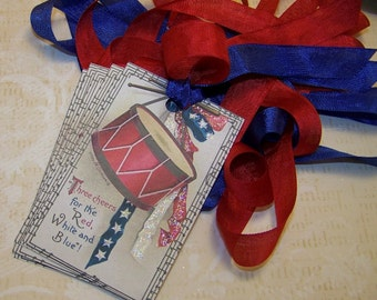 4th of July Tags Americana Tags Patriotic Tags Red White and Blue Vintage Style Set of 6