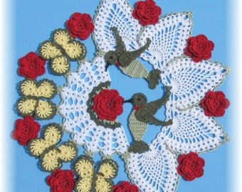 PDF Crochet Pattern- Hummingbirds and Roses Pineapple Doily