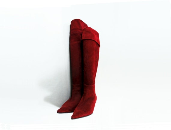 Vintage Red Boots 90s Kitten Heel Over The Knee Boots size 8