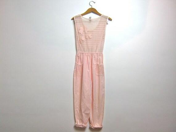 vintage 80s light pink jumpsuit // mesh