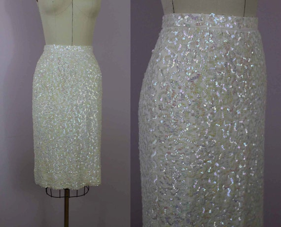 White Sequin Skirt
