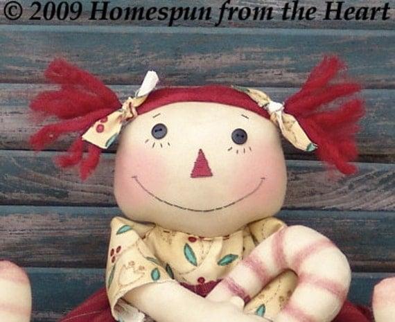 Primitive Christmas Cloth Doll Pattern, Candy Cane Ann Raggedy Doll pattern, raggedy doll, Christmas doll pattern, HFTH118