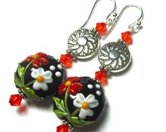 Floral Earrings Black Earrings Lampwork Earrings Flower Earrings Artisan Earrings Glass Earrings Beaded Earrings Lentil Earrings