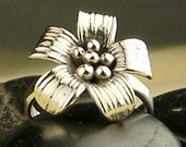 Sterling Silver Flower Ring Order your own size  Free US Shipping