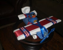 Airplane Diaper Cake Baby Shower Centerpiece or gift custom made in your colors