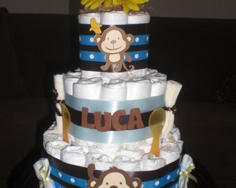 Monkey Diaper Cake Jungle Theme Baby Shower Centerpiece or gift elephant available and other ribbon colors too