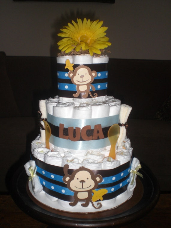 Items similar to monkey diaper cake jungle theme baby shower centerpiece or gift elephant - Baby shower cakes monkey theme ...