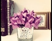 12 Origami Tulip Flowers on Hand Painted Wooden Stems
