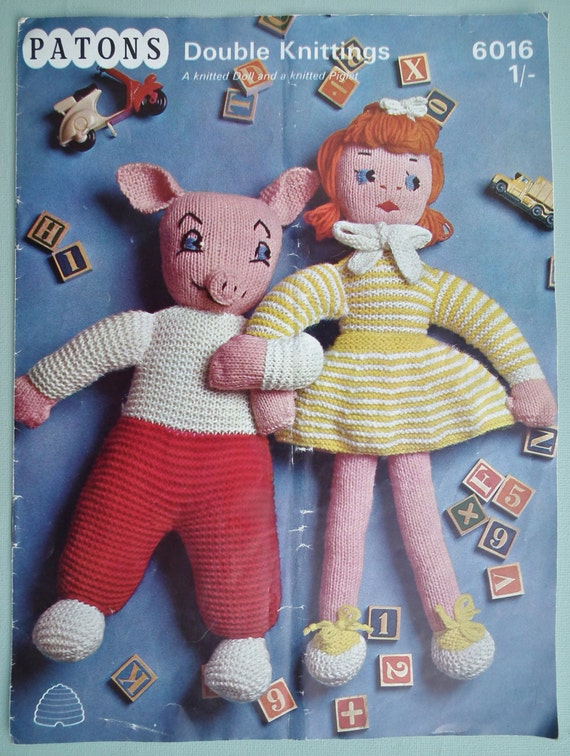 Vintage Knitting Pattern Knitted Soft Toys Dolls 1960s