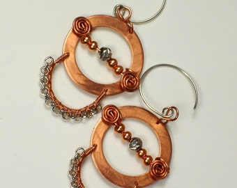 Lil' Comet, handmade, copper and sterling silver, circular, pierced earrings with copper and sterling beads