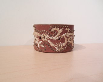 All Stitched Up - Genuine Leather Upcycled Cuff