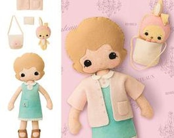 Retired LEARN 2 SEW PATTERN / Make Felt Doll With Clothes and Bunny / Easy for Kids and Adults / Hand Sew