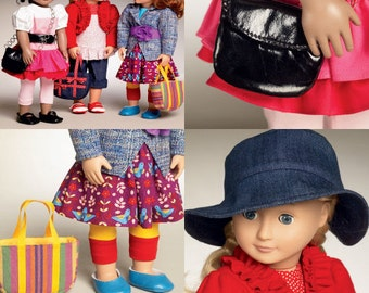 DOLL CLOTHES PATTERN For American Girl / Fits McKenna - Kanani - Saige - Lanie / 18 ich dolls Mix and Match Outfits