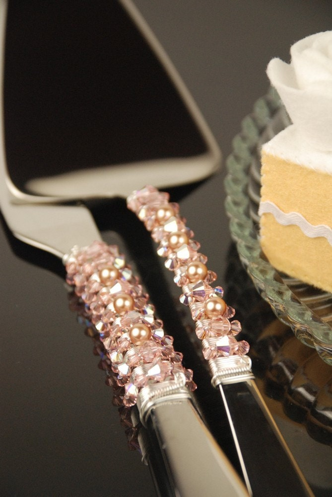 Blush Pink Rose Gold Champagne Wedding Cake Cutting Set Server