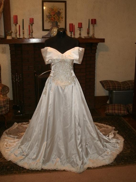 Jasmine bright white glossy slipper satin off shoulder wedding for Slipper satin wedding dress