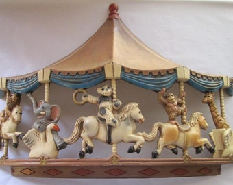 Vintage Kitsch Wall Decor Carousel with Animals Riding Animals