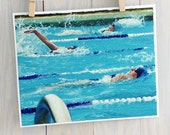 Swim swimming pool photograph, impressionist aquamarine, turquoise water, fine art 8x10 print by Cathie Carlson