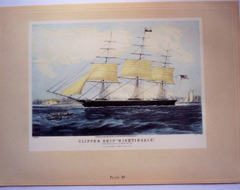 Clipper Ship, Classic Currier and Ives, Vintage 1942 print, Nightingale