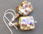 lampwork bead earrings bronzey browns amber spotted beads- fall drops
