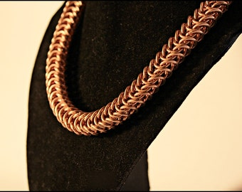Classic Chainmail choker Pure Bronze Box Chain weave punk rock Roman