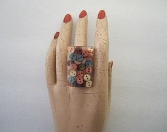 Huge 'Tiny Buttons' Resin Ring or Necklace - you choose