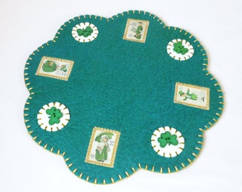 Hand Sewn Penny Rug St. Pat's Design Table, Tree, or Candle Mat - 12.75""