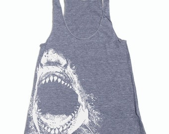 Womens SHARK american apparel Tri-Blend Racerback Tank Top S M L (8 Color Options)