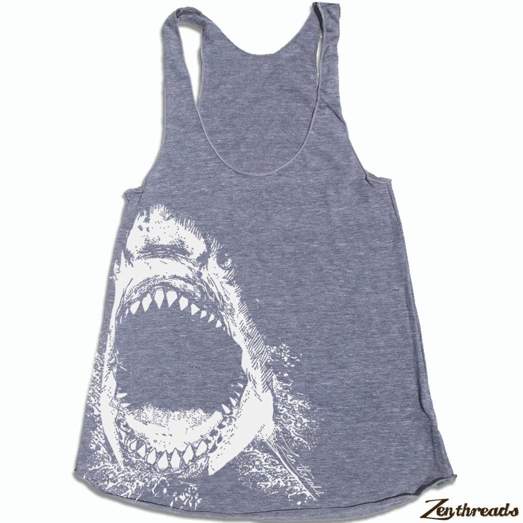 Women 39 s shark hand screen printed tri blend racerback for Shark tank t shirt printing