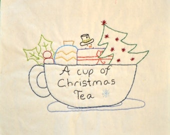 "PDF Pattern ""A Cup of Christmas Tea"" Holiday Stitchery"