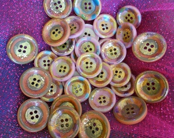 Multi Colored Hand Painted Wood Buttons
