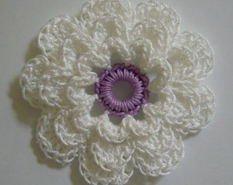Crocheted Flower - White with Lilac - Crocheted Flower Applique - Crocheted Flower Applique