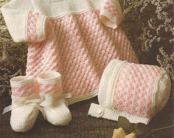 """PDF Knitting Pattern Baby Dress, Bonnet and Bootees to fit Sizes 14-20"""" (N246)"""