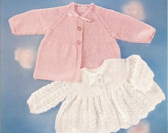 "PDF Knitting Pattern Baby Matinee Coat and Angel Top to fit Sizes 18-20"" (LL72)"