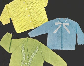 PDF Knitting Pattern Three Baby Matinee Coats/Cardigans (LL256)