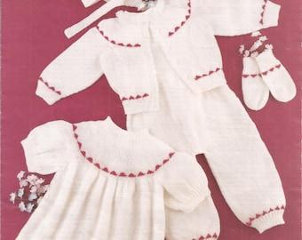 Vintage Baby Girl or Baby Boy's Pram Set Knitting Pattern PDF (Co268)