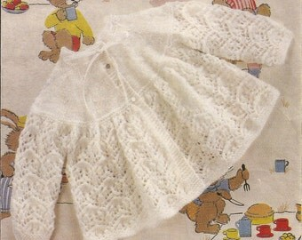 """PDF Knitting Pattern Vintage Babys Angel/Matinee Coat to fit sizes 17-19"""" (Y269)"""
