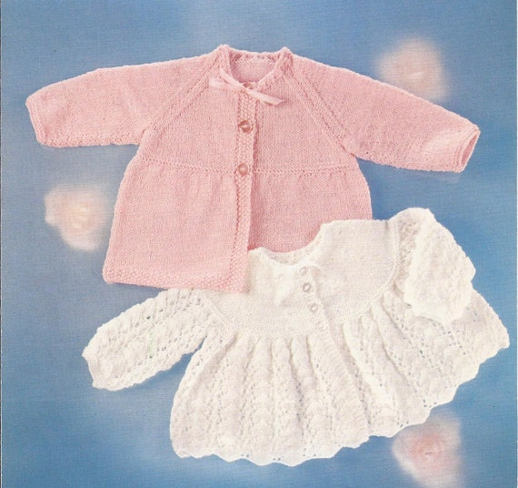 Knitting Pattern Angel Top : PDF Knitting Pattern Baby Matinee Coat and Angel Top to fit