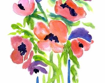Flowers in Vase Watercolor Print