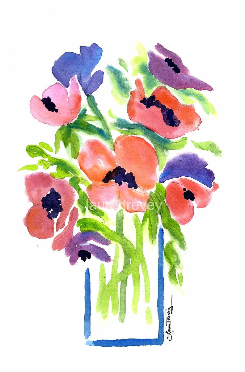 flowers in vase watercolor print. Black Bedroom Furniture Sets. Home Design Ideas