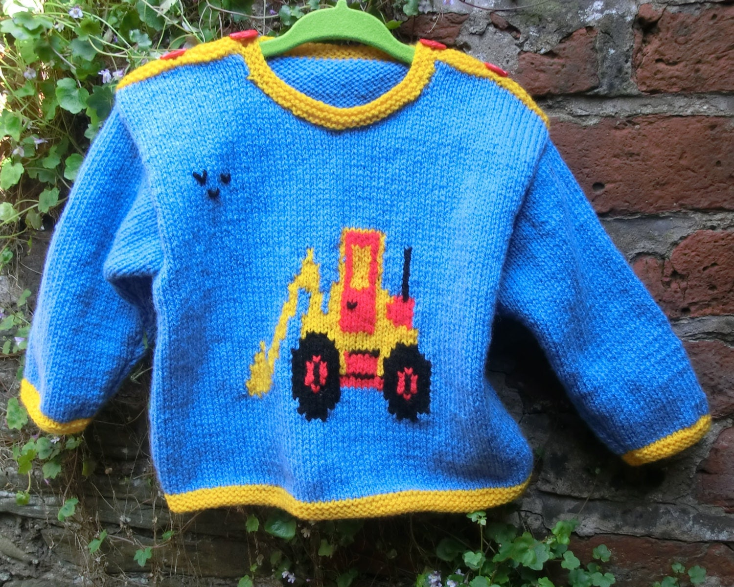 Childrens Knitting Pattern for Sweater with Digger Motif