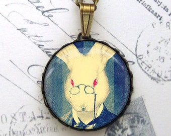An Educated Rabbit Pendant Necklace Antiqued Brass Blue Anthropomorphized Bunny