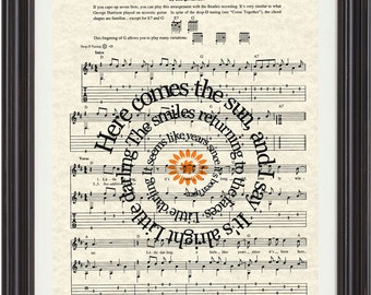 Here Comes The Sun Art Print, The Beatles Here Comes The Sun Art Print, Sheet Music Art, Song Lyric Art