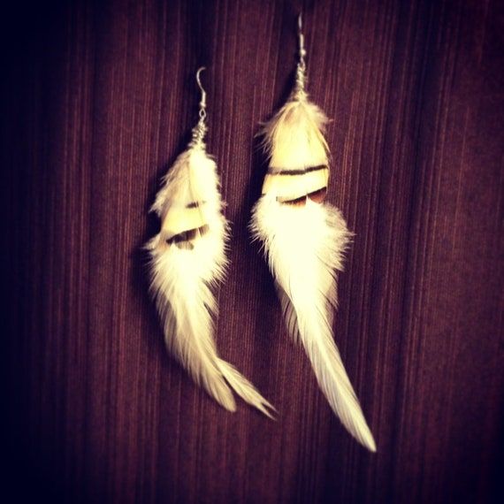 White feather earrings, on SALE NOW