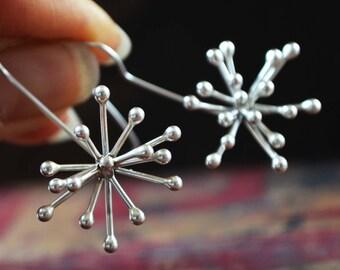 Starburst earring, argentium silver sculptures