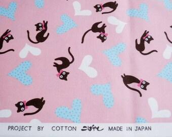 "SALE / Scrap - Heart Cats Pink - 108cm/42.5""W x 49.5cm/19""L (11pi0913)"