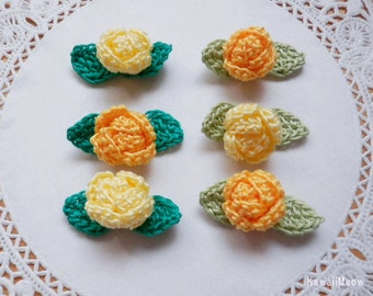 Kawaii Crochet Applique Motif Mini Roses Leaves Set of 12 - Yellow -