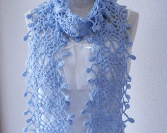 Blue Cotton Stole Scarf
