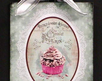 Shabby Cottage Vintage French Label Adorable Cupcake Wood Wall Plaque